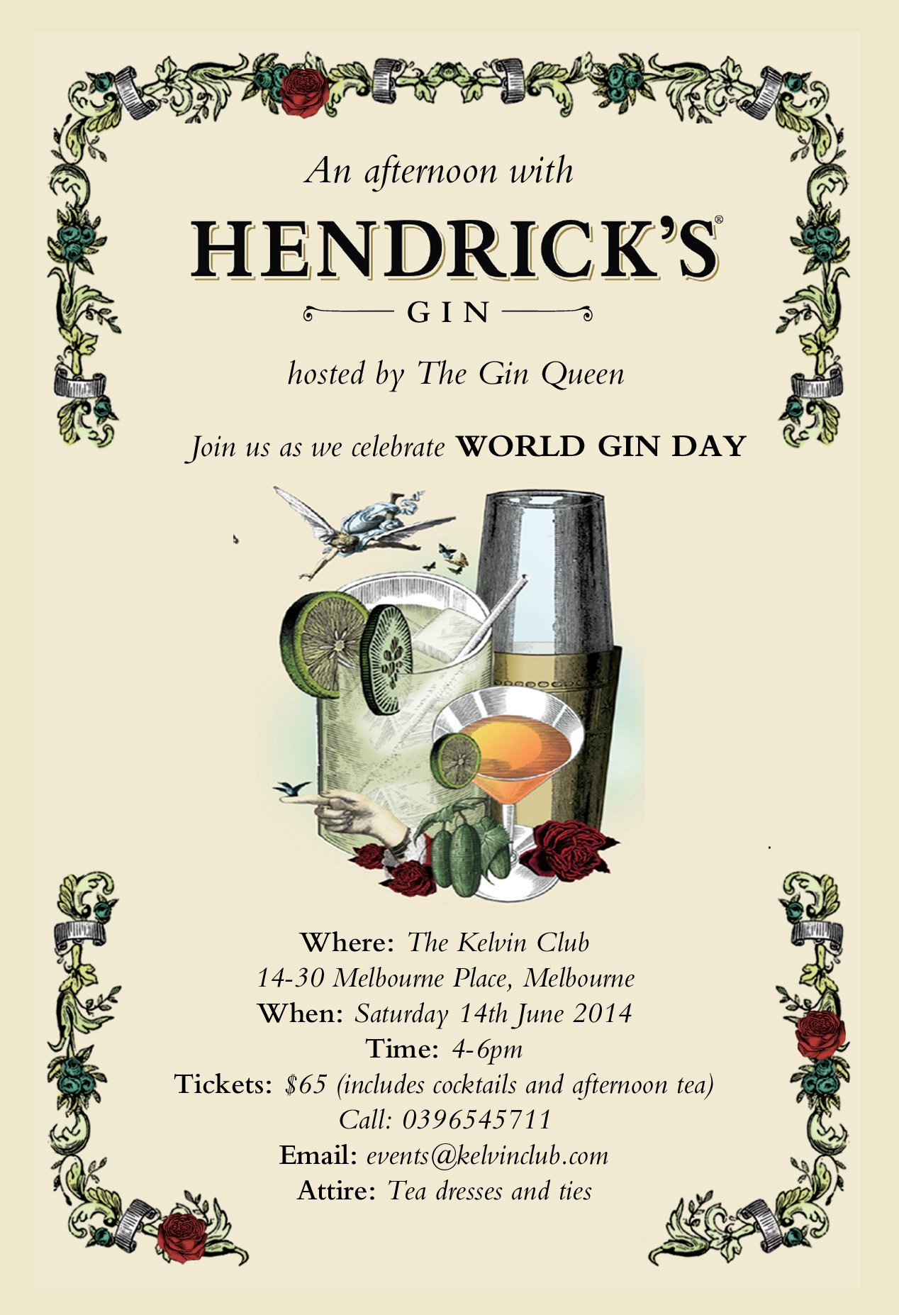 The Gin Queen's World Gin Day ceelebration with The Kelvin Club and Hendrick's Gin