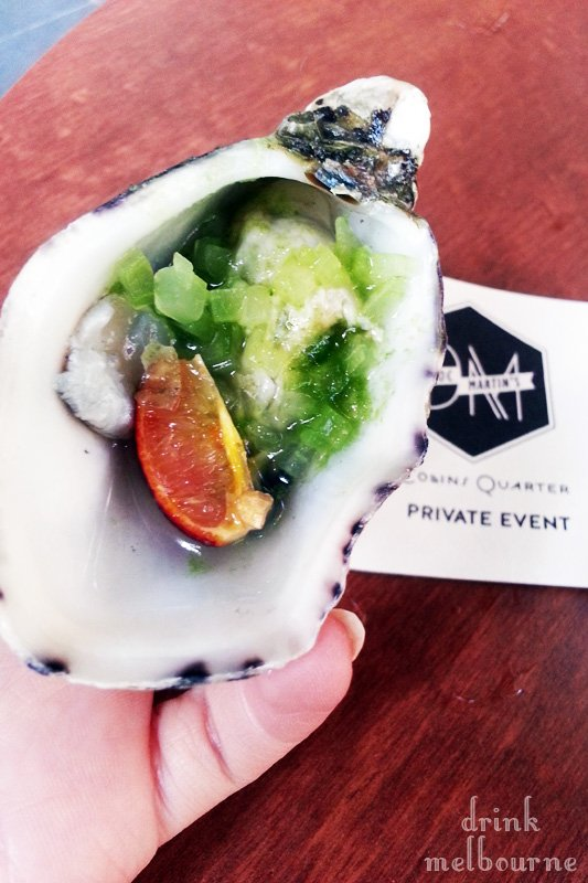 Oysters with compressed cucumber - Doc Martin's Collins Street Melbourne bar