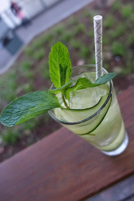 London Plane Collins: Inspired by the bar's namesake Arbor is this botanical mix of Tanqueray London Dry Gin,   Lillet Blanc, Lemon, house made (and grown) Mixed Herb Syrup, served over ice with Cucumber and Mint