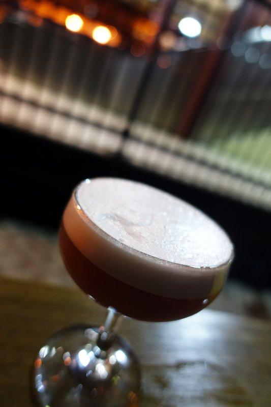 Lady Hotham: Hayman's Sloe Gin shaken with Chambord Raspberry Liqueur, Lemon Juice, egg  white foam, topped with Chandon